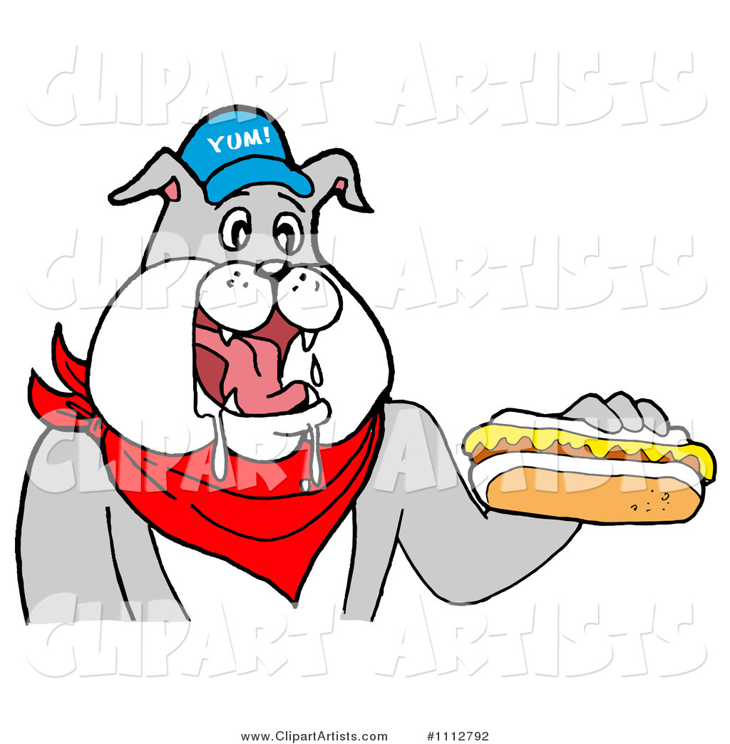 Bbq Bulldog Mascot Drooling over a Hot Dog with Mustard