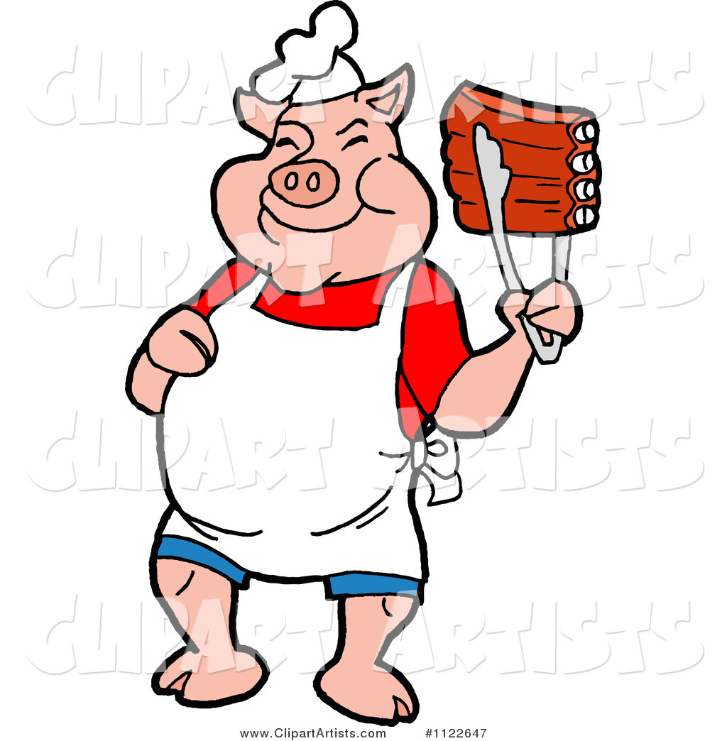 BBQ Pig Chef Holding up Ribs with Tongs