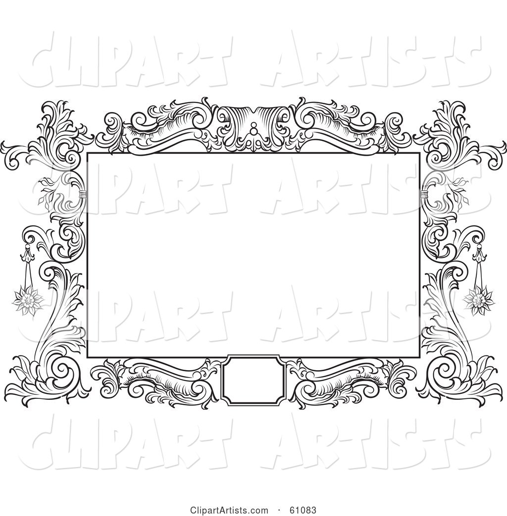 Beautiful Black and White Floral Scroll Frame Around a Blank Text Box