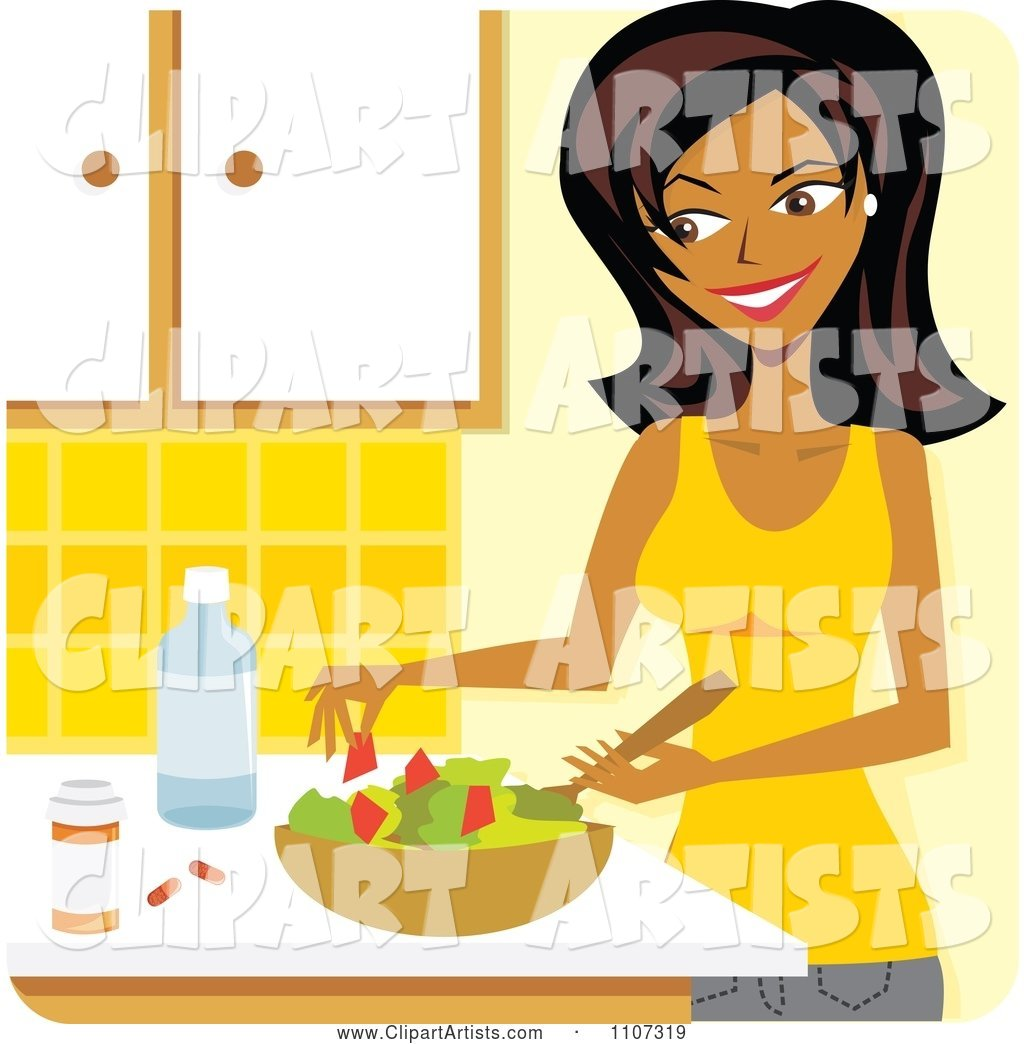 Beautiful Black Woman Preparing a Salad and Supplements in a Kitchen