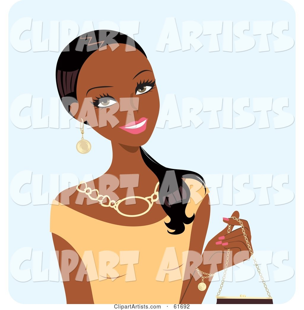 Beautiful Black Woman Wearing a Beige Top and Holding a Purse