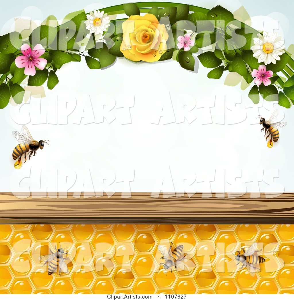 Bees and Honeycombs with Flowers 4