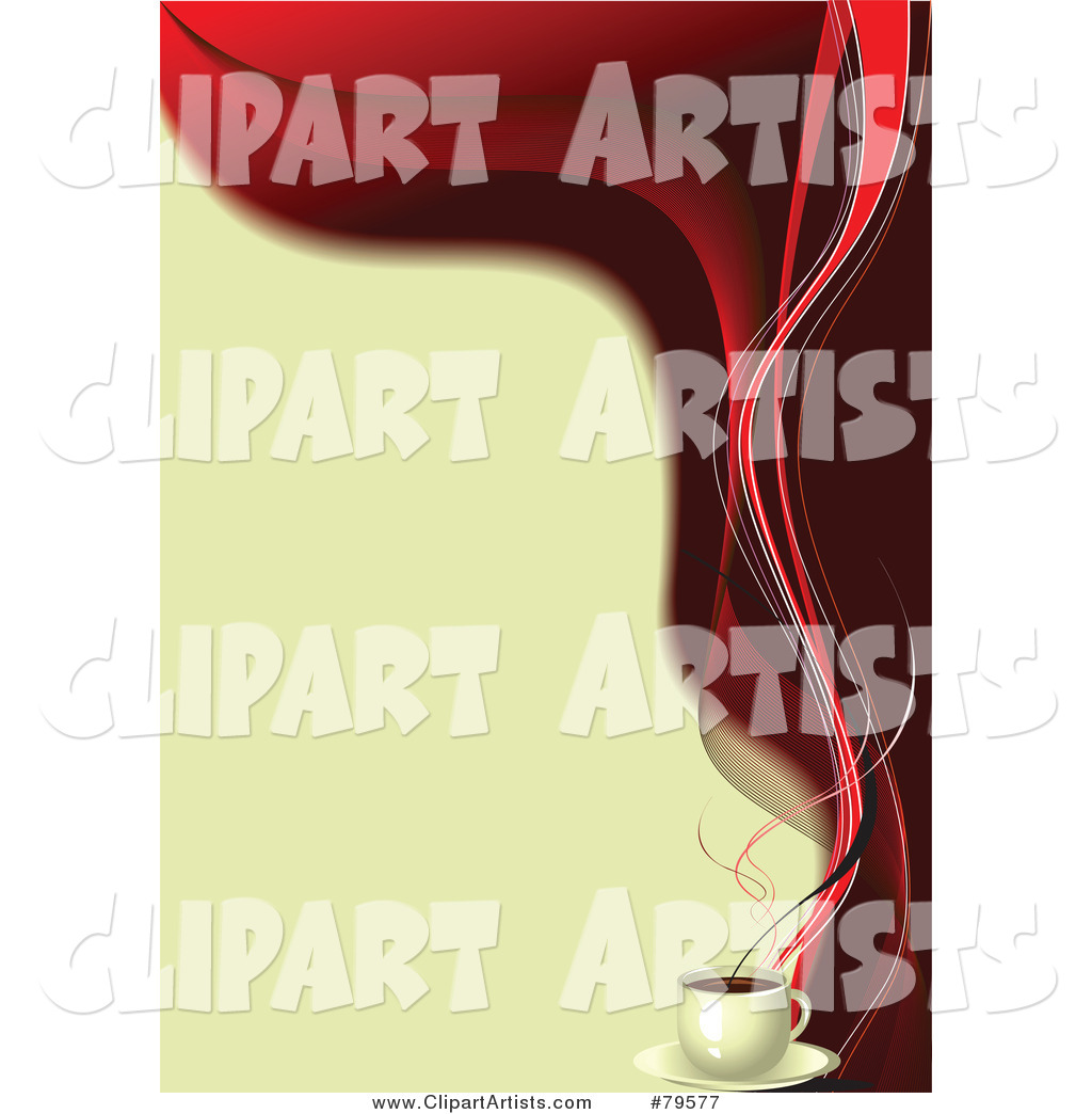 Beige and Red Coffee Background with Red Steam on the Right Edge