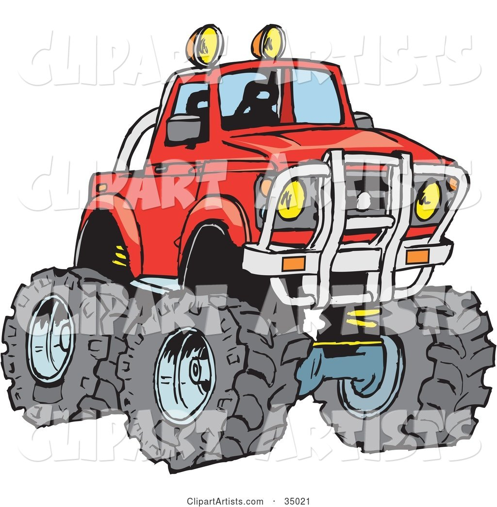 Big Red Pickup Truck with a Lift and Huge Tires, Ready for off Roading
