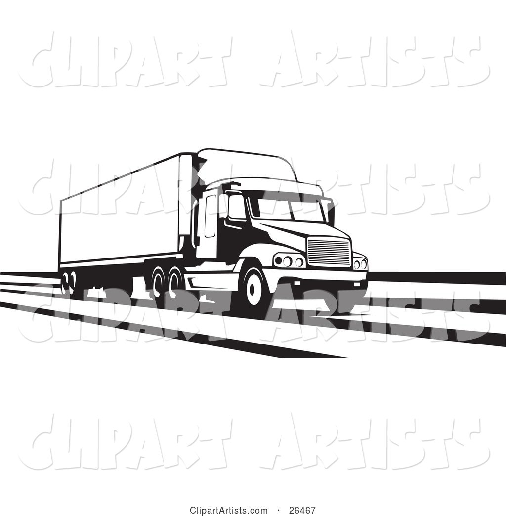 Big Rig Truck Speeding Along the Interstate, Black and White