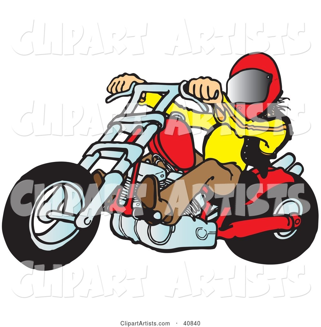 Biker Dude in a Helmet, Riding a Red Chopper