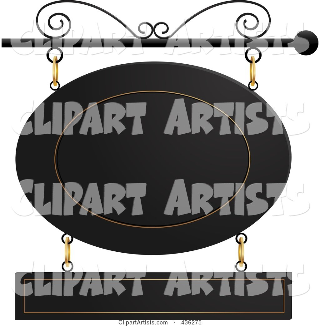 Black and Gold Oval and Rectangle Store Front Sign Suspended from a Black Pole