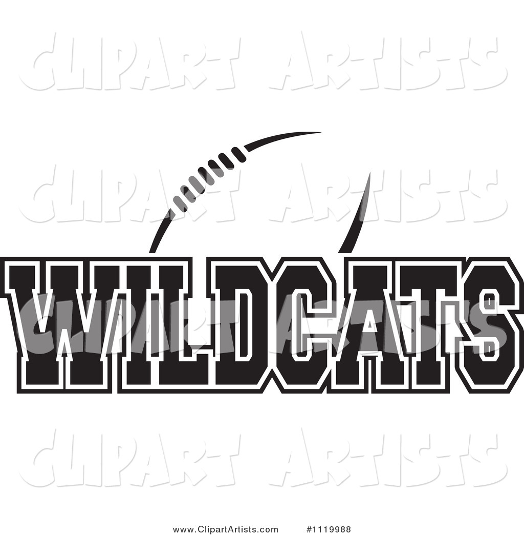 Black and White American Football and Wildcats Team Text