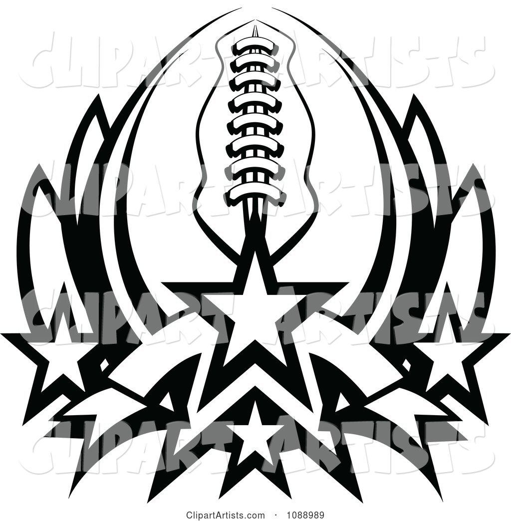 Black and White American Football with Stars Forming a Lotus