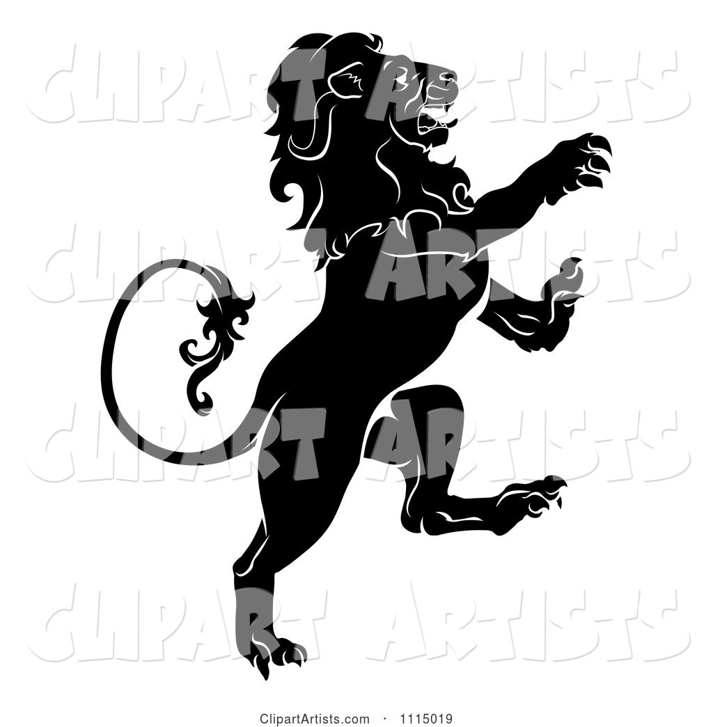 Black and White Attacking Heraldic Lion