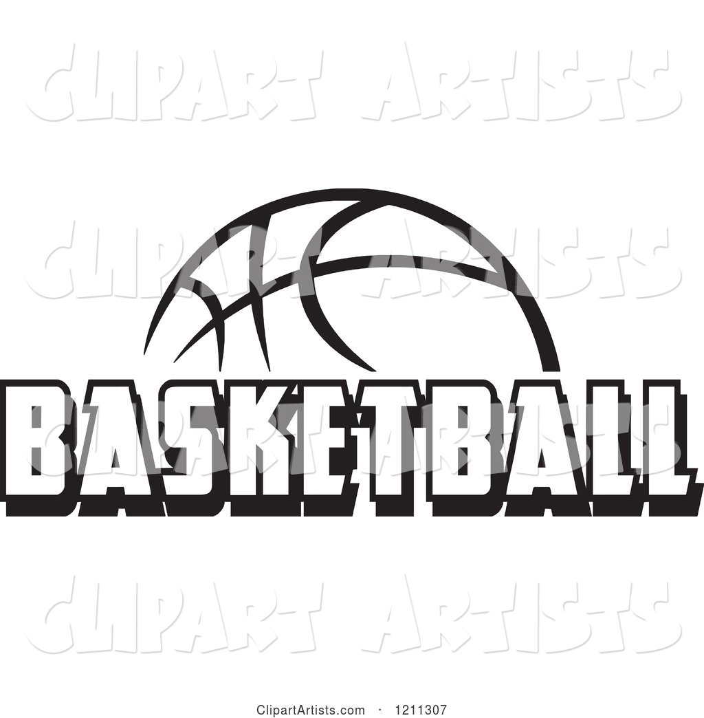 Black and White Ball with BASKETBALL Text