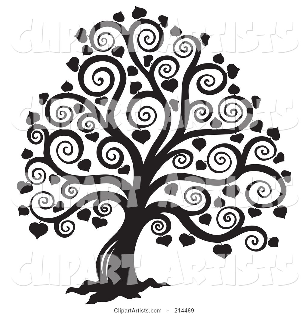 Black and White Bare Heart Tree Design