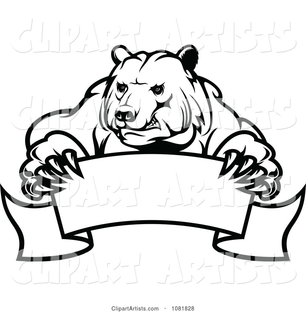 Black and White Bear Holding a Curved Banner