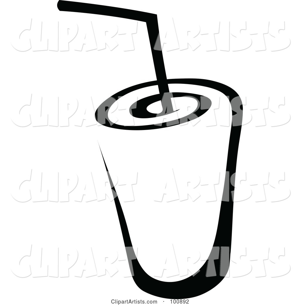 Black and White Beverage and Straw