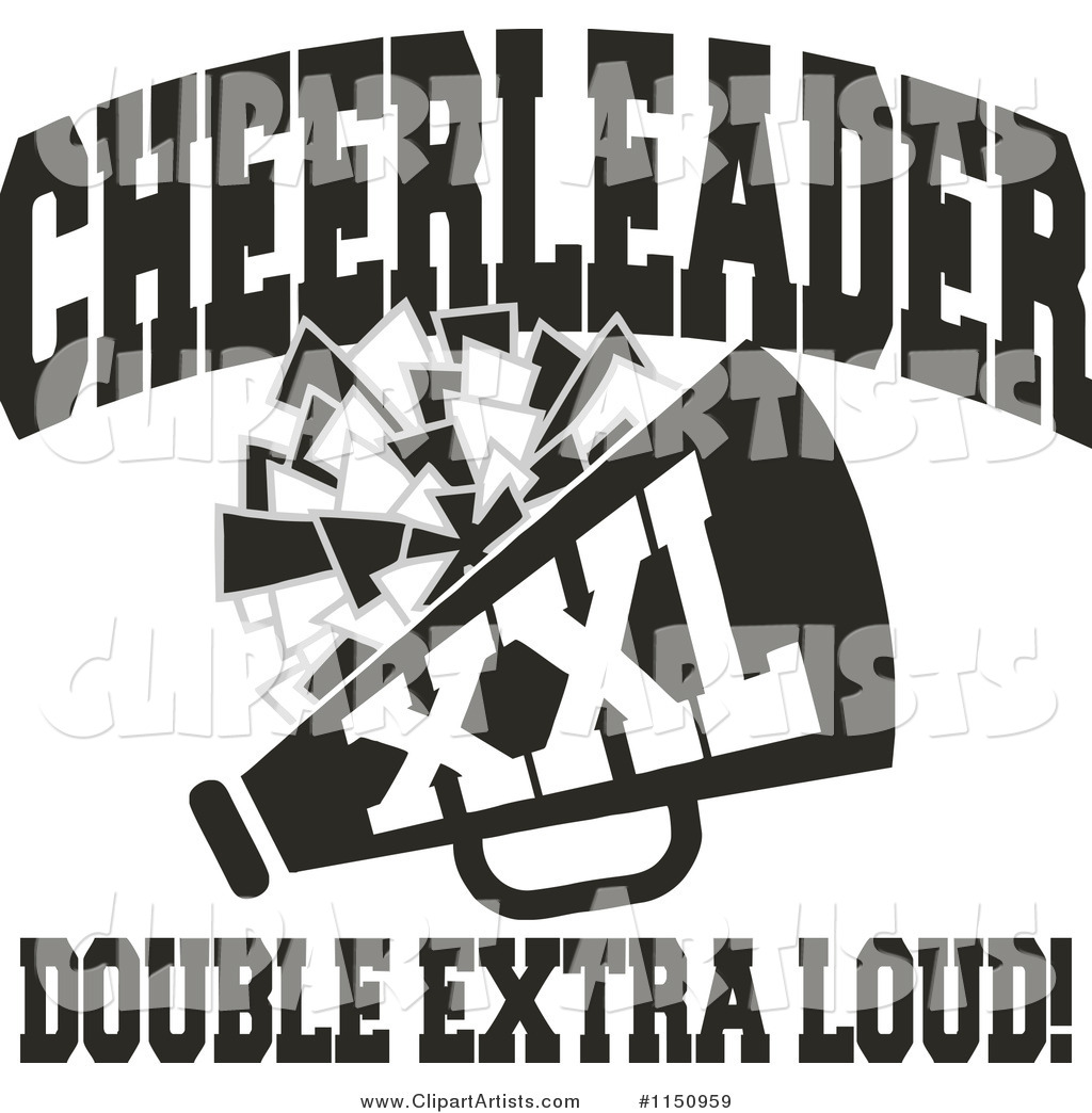 Black and White Cheerleader Xxl Double Extra Loud Text with a Pom Pom and Megaphone