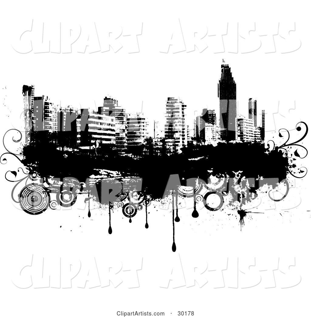 Black and White City Skyline on Grunge with Drips and Circles