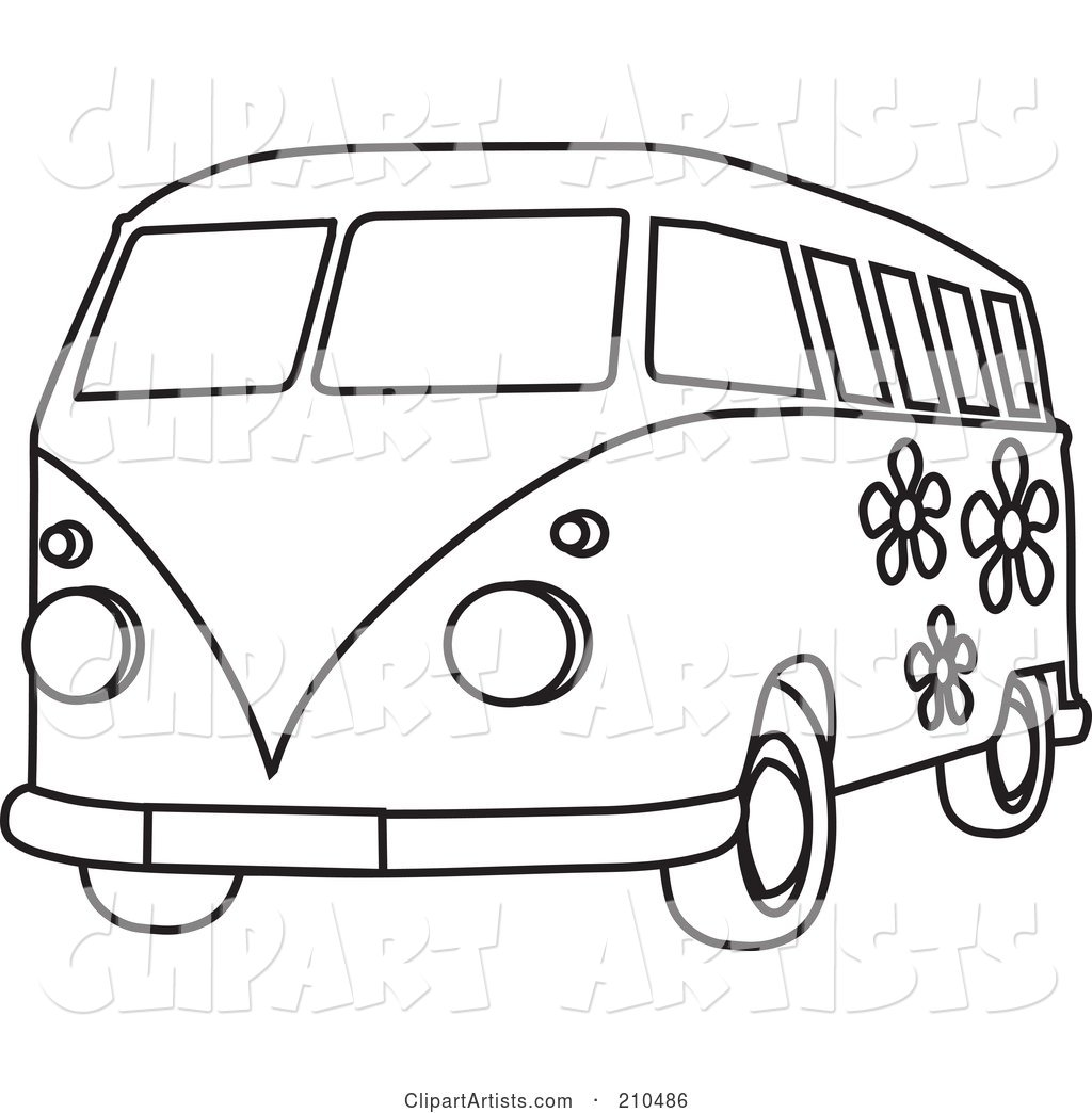 black and white coloring page outline of a floral hippie