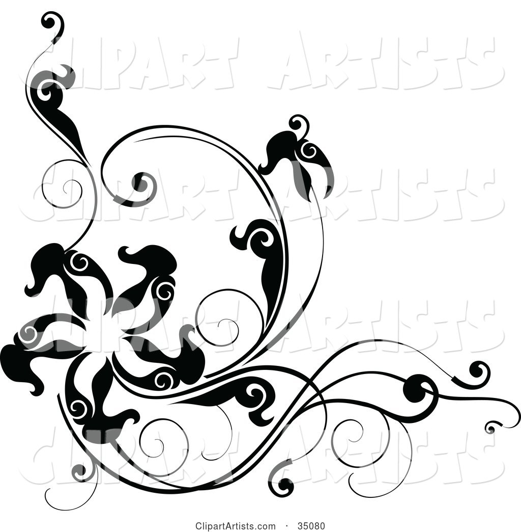 Black and White Corner Design with Leafy Vines and a Star or Starfish