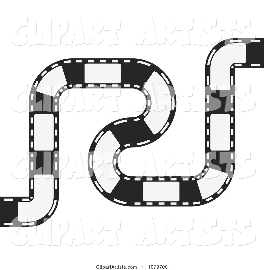 Black and White Curvy Film Strip Circuit