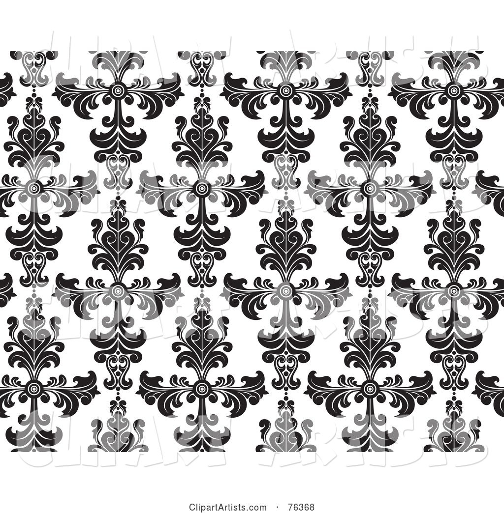 Black and White Damask Seamless Background Pattern
