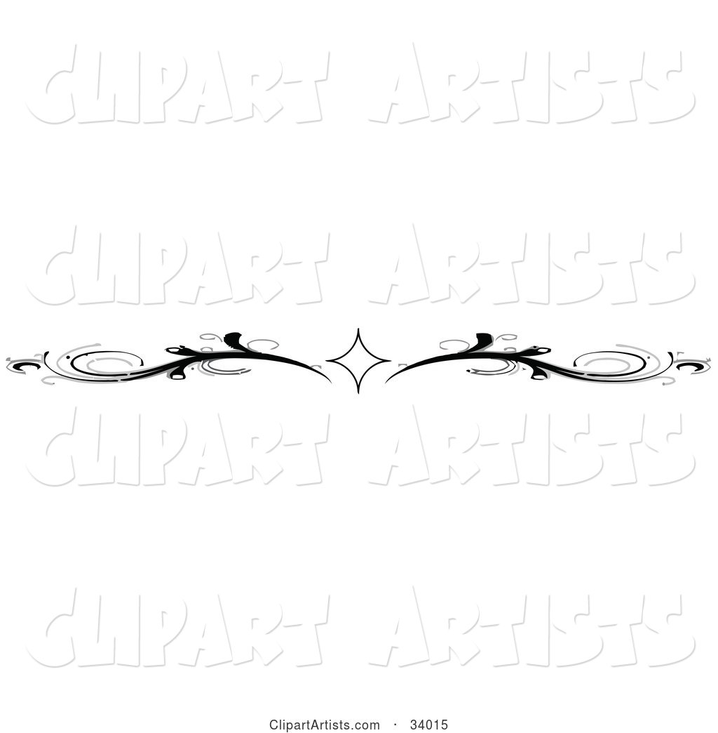 Black and White Diamond and Scroll Header, Divider, Banner or Lower Back Tattoo Design