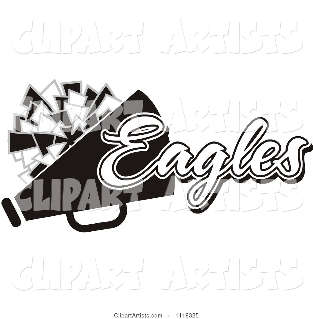 Black and White Eagles Cheerleader Design