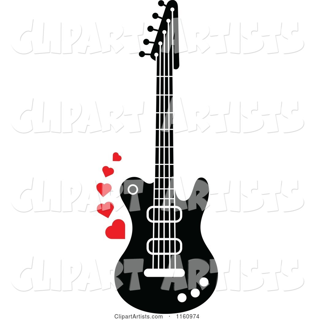 Black and White Electric Guitar with Red Hearts