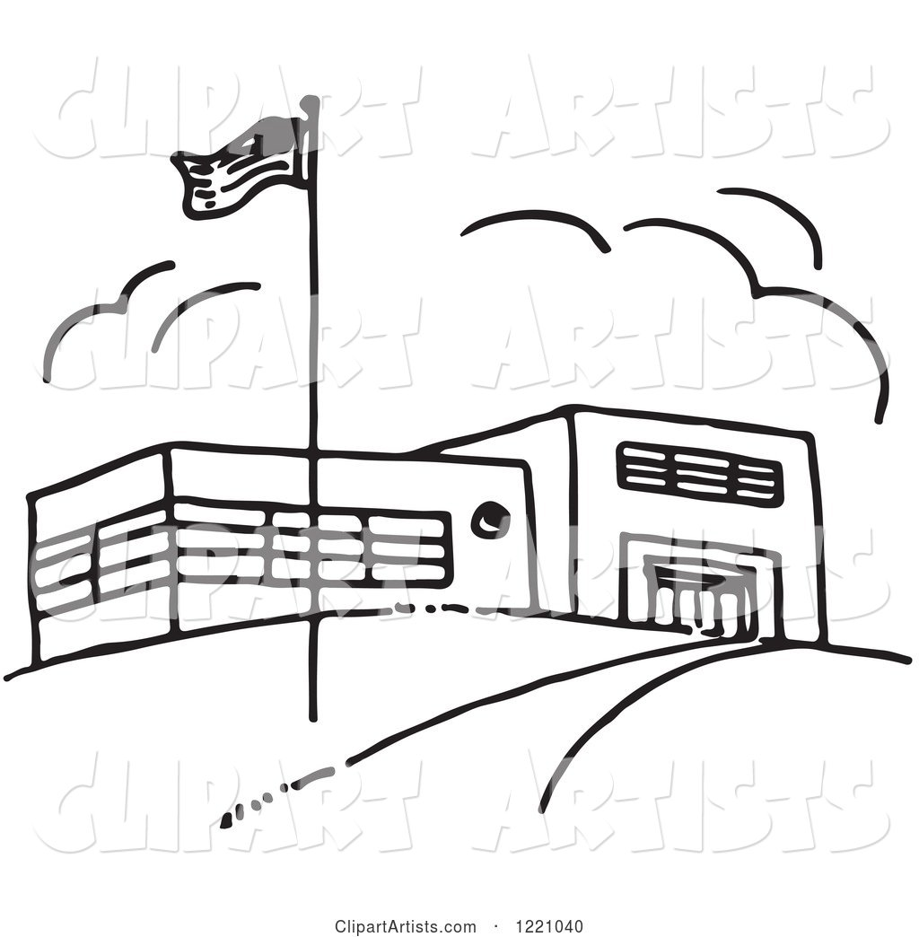 Black and White Flag and School Building