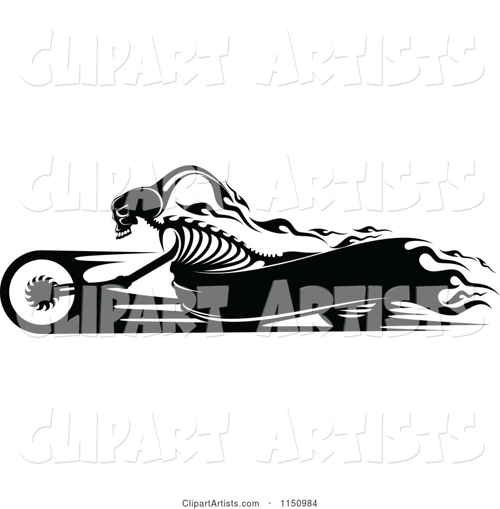 Black and White Flaming Skeleton Biker on a Motorcycle with Copyspace