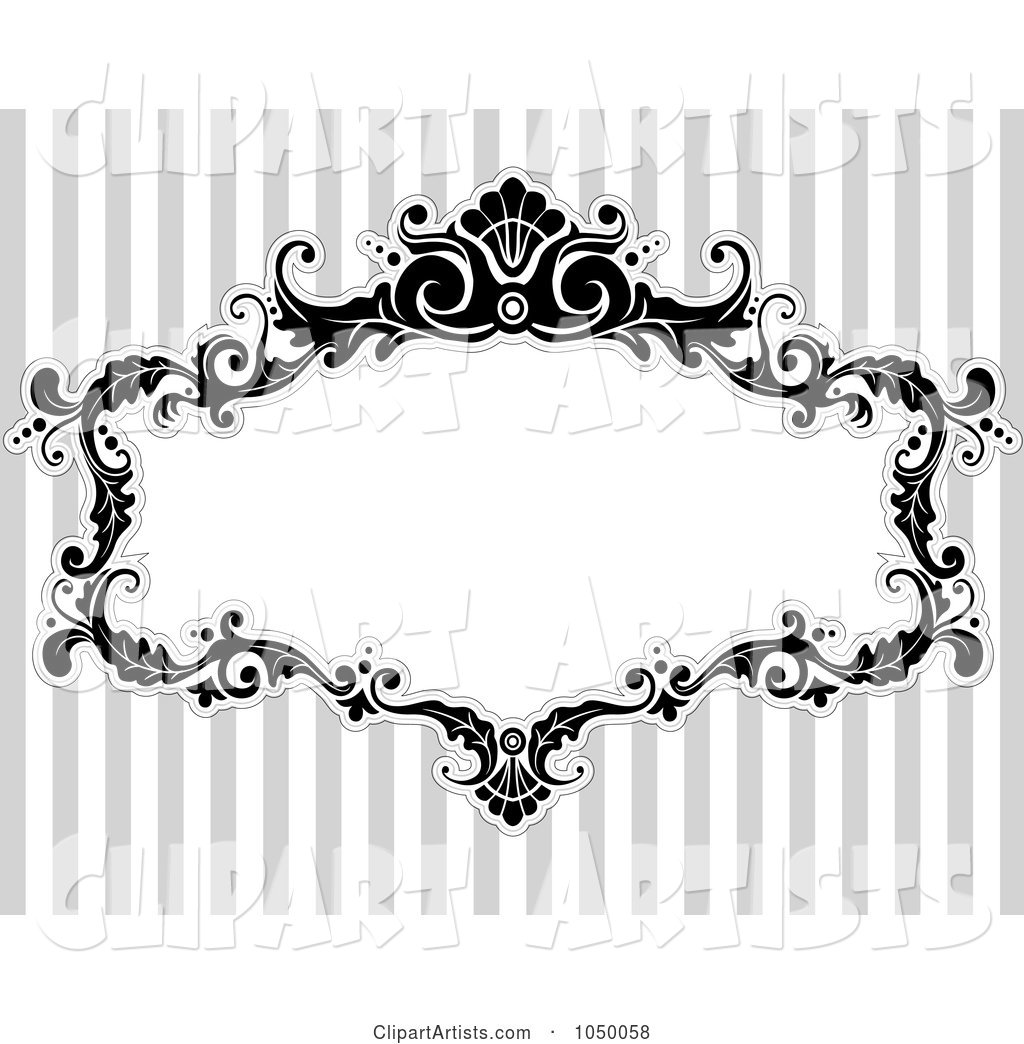 Black and White Floral Victorian Frame over Gray Stripes - 1