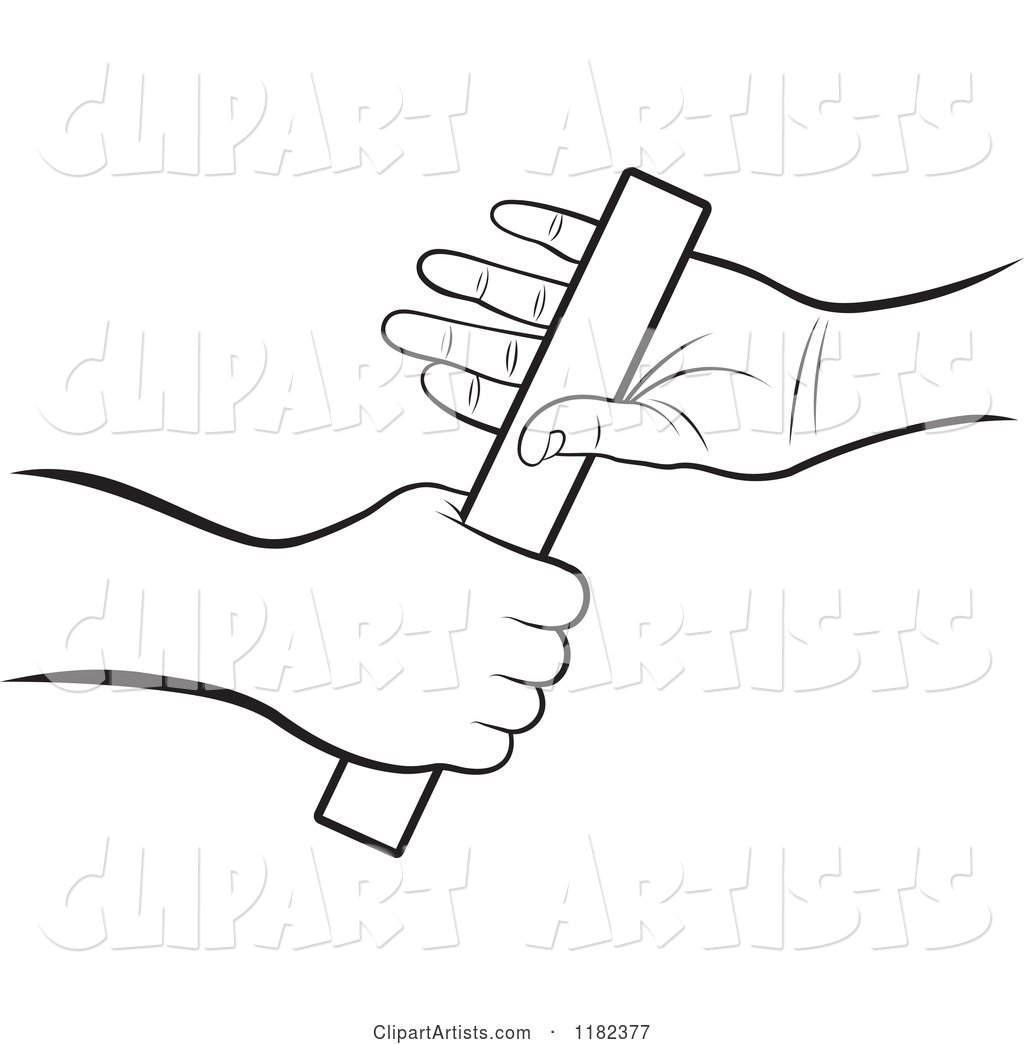 Black and White Hands Passing a Relay Race Baton