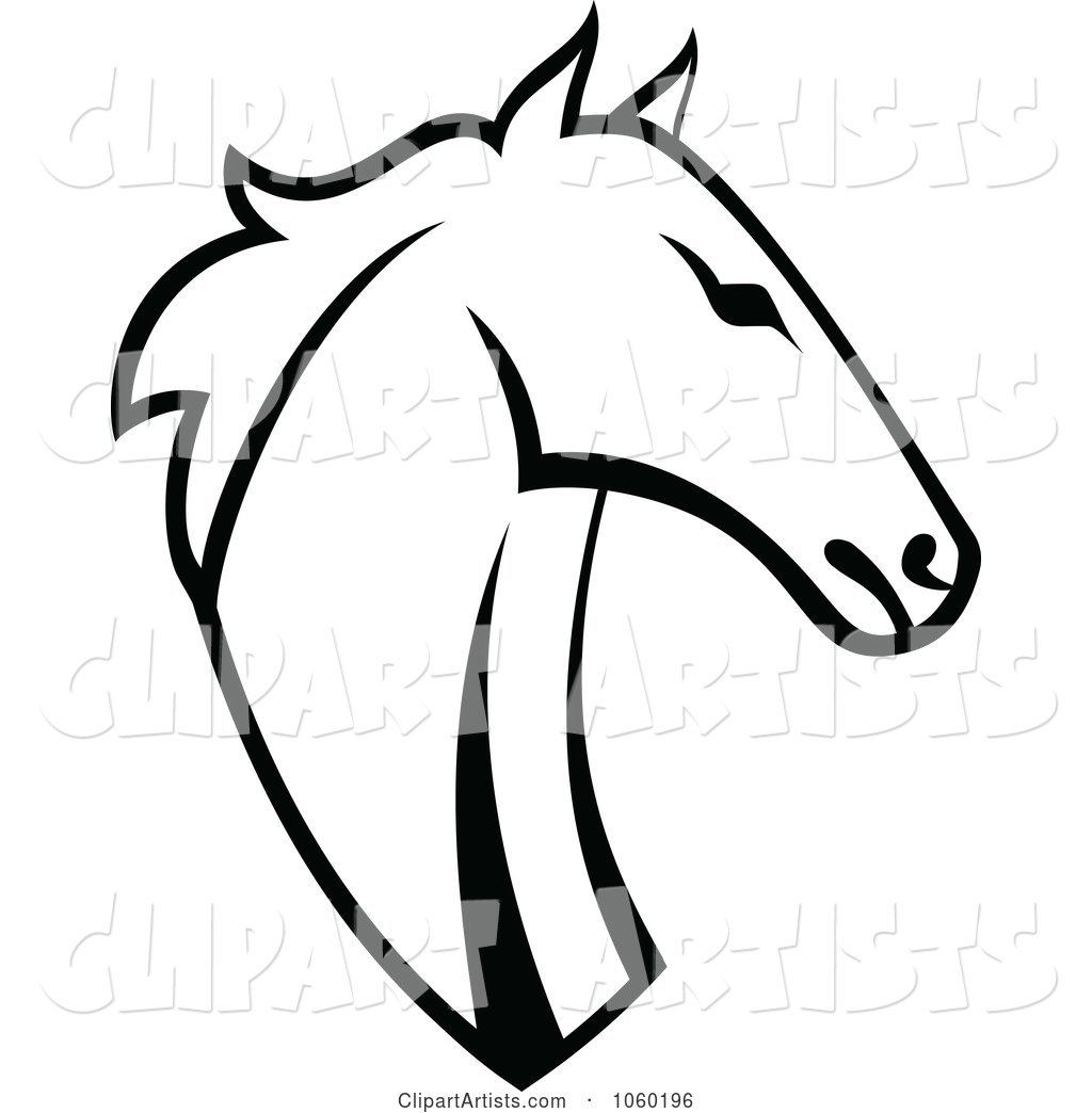 Black and White Horse Head Logo - 5