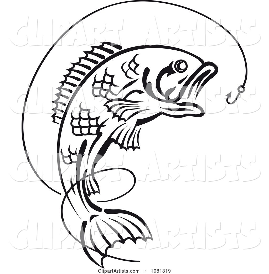 Black and White Leaping Fish and Hook with Line