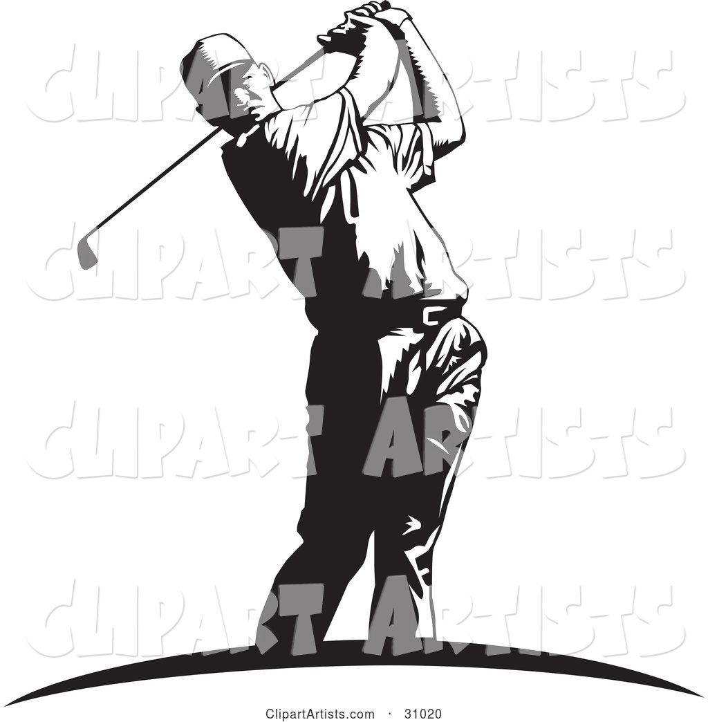 Black and White Man Swinging a Club While Golfing