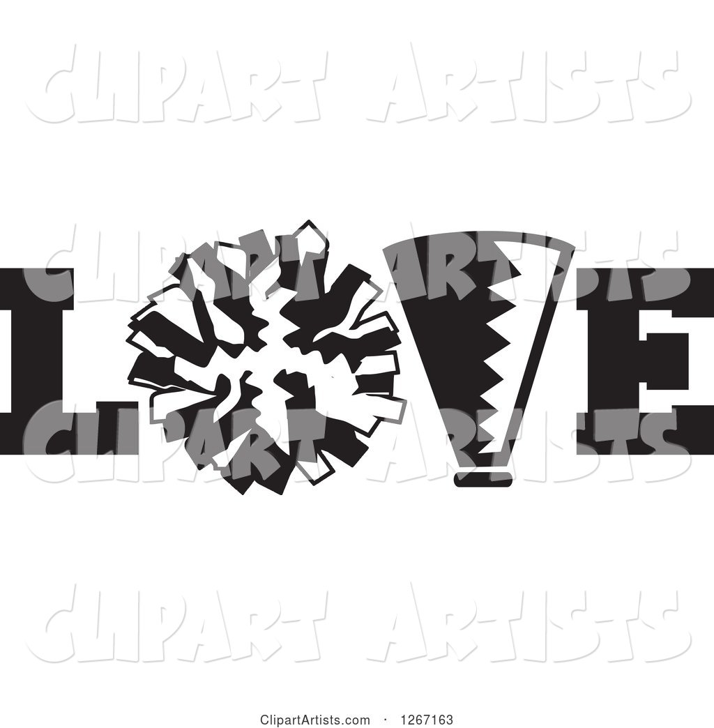 Black and White Megaphone and Cheerleading Pom Pom in LOVE