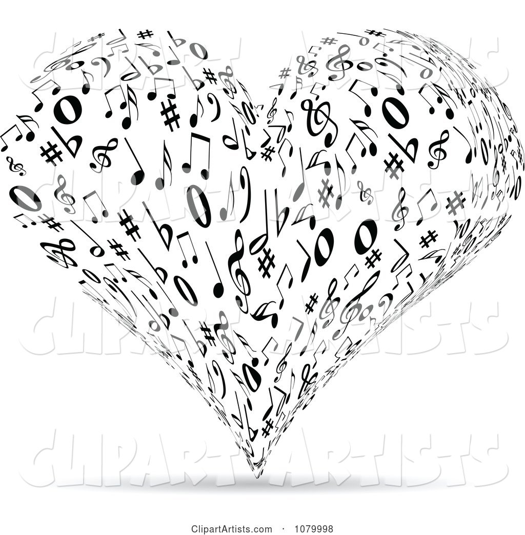 Black and White Music Note Heart