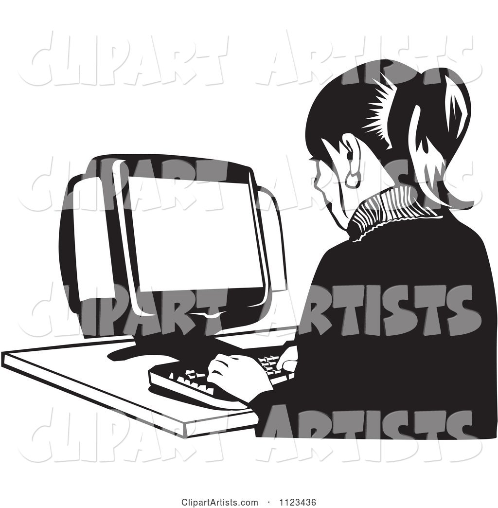 Black and White Office Worker Woman Typing on a Desktop Computer