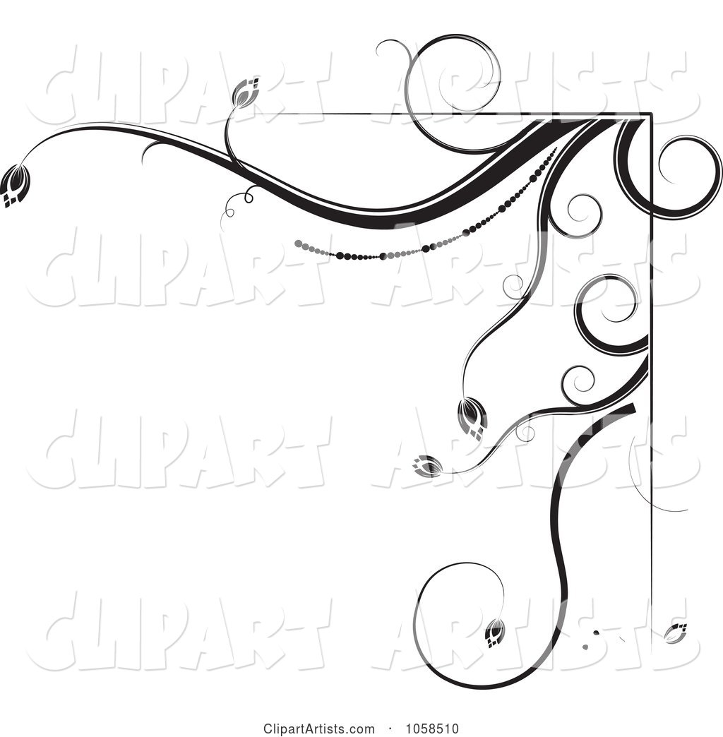 Black and White Ornate Floral Corner Border Design Element - 2