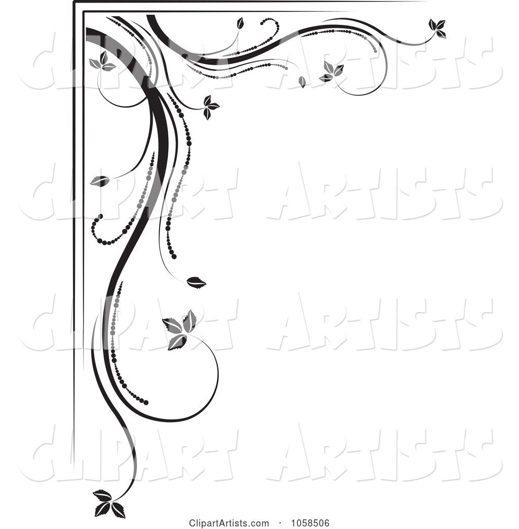 Black and White Ornate Floral Corner Border Design Element - 3