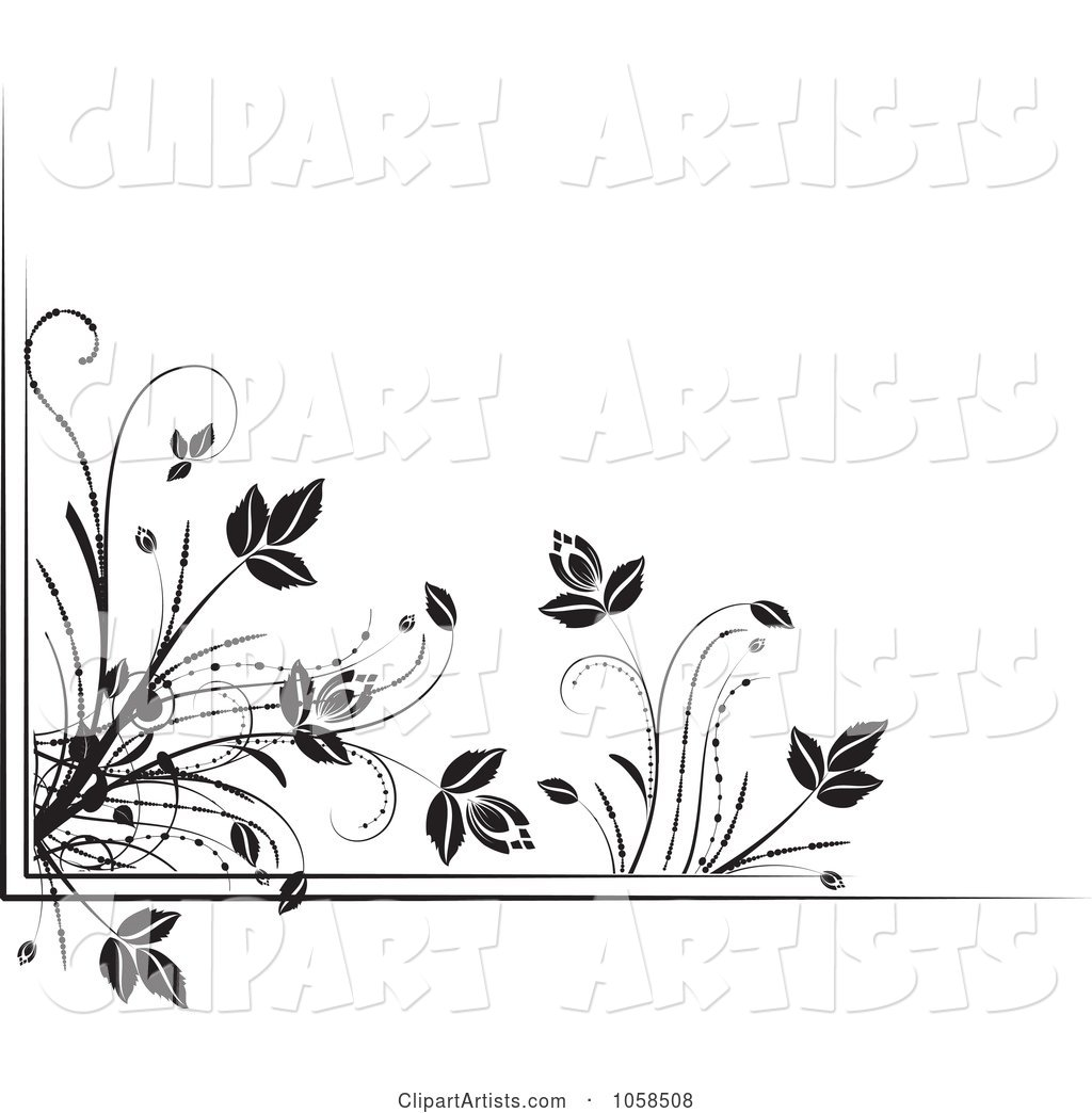 Black and White Ornate Floral Corner Border Design Element - 4