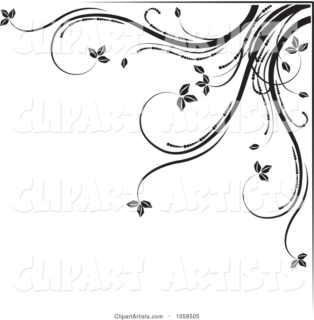 Black and White Ornate Floral Corner Border Design Element - 5
