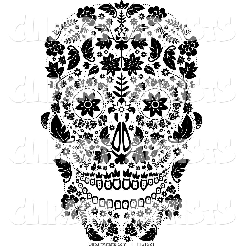 Black and White Ornate Floral Day of the Dead Skull