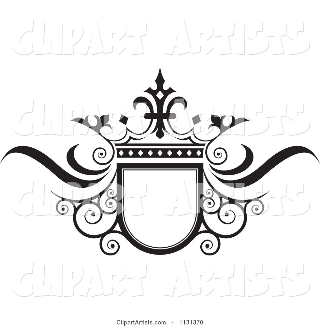 Black and White Ornate Wedding Crown and Frame