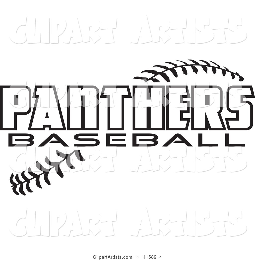 Black and White Panthers Baseball Text over Stitches