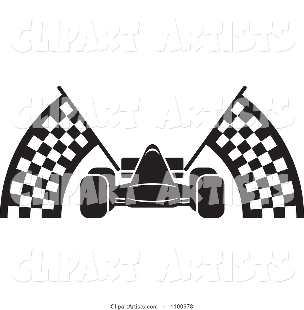 Black And White Race Car With Checkered Flags Clipart by Lal ...