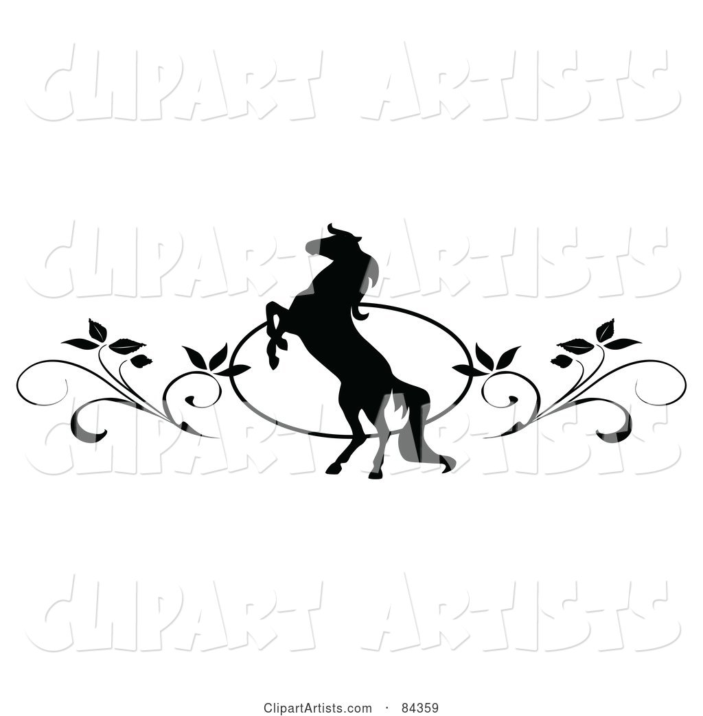 Black and White Rearing Horse and Vine Website Header or Page Divider