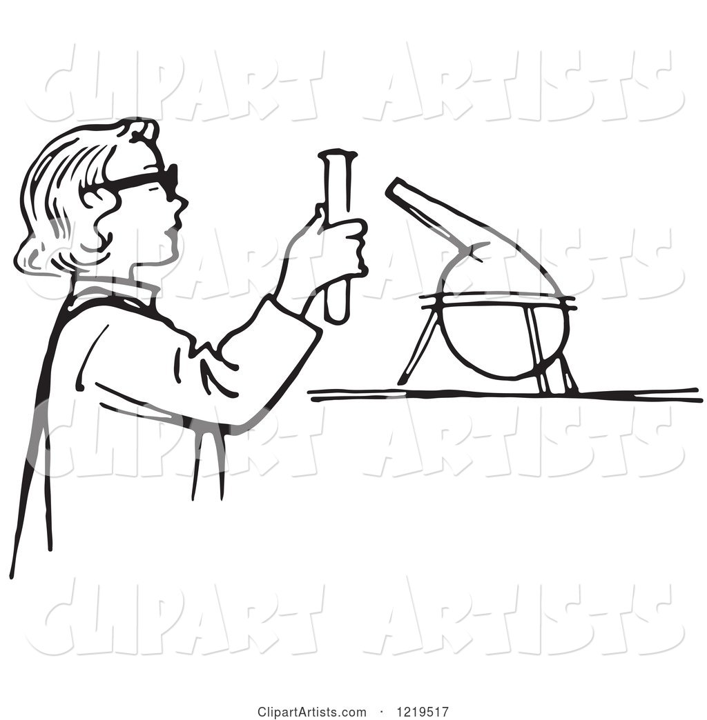 Black and White Retro Teen Girl Conducting a Science Experiment in a Lab