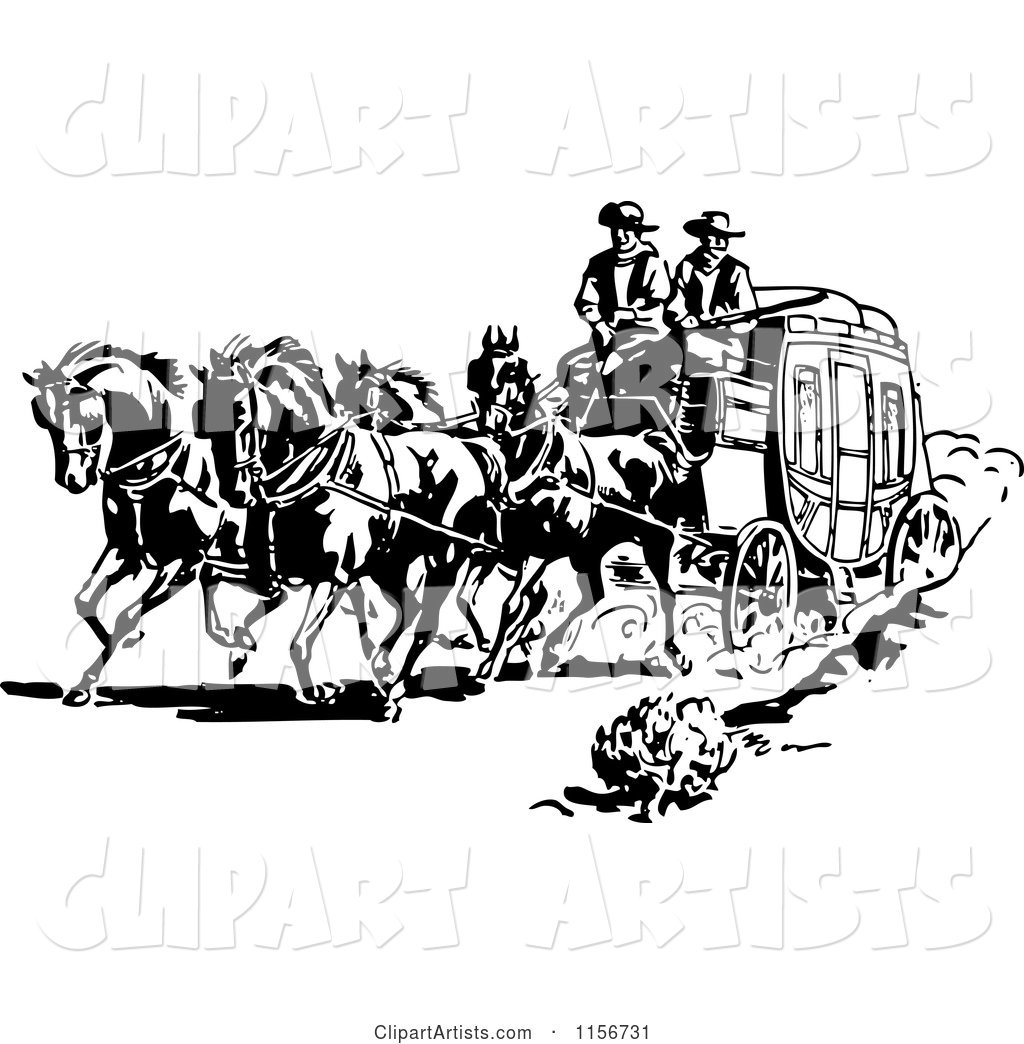 Black And White Retro Western Cowboys A Stage Coach