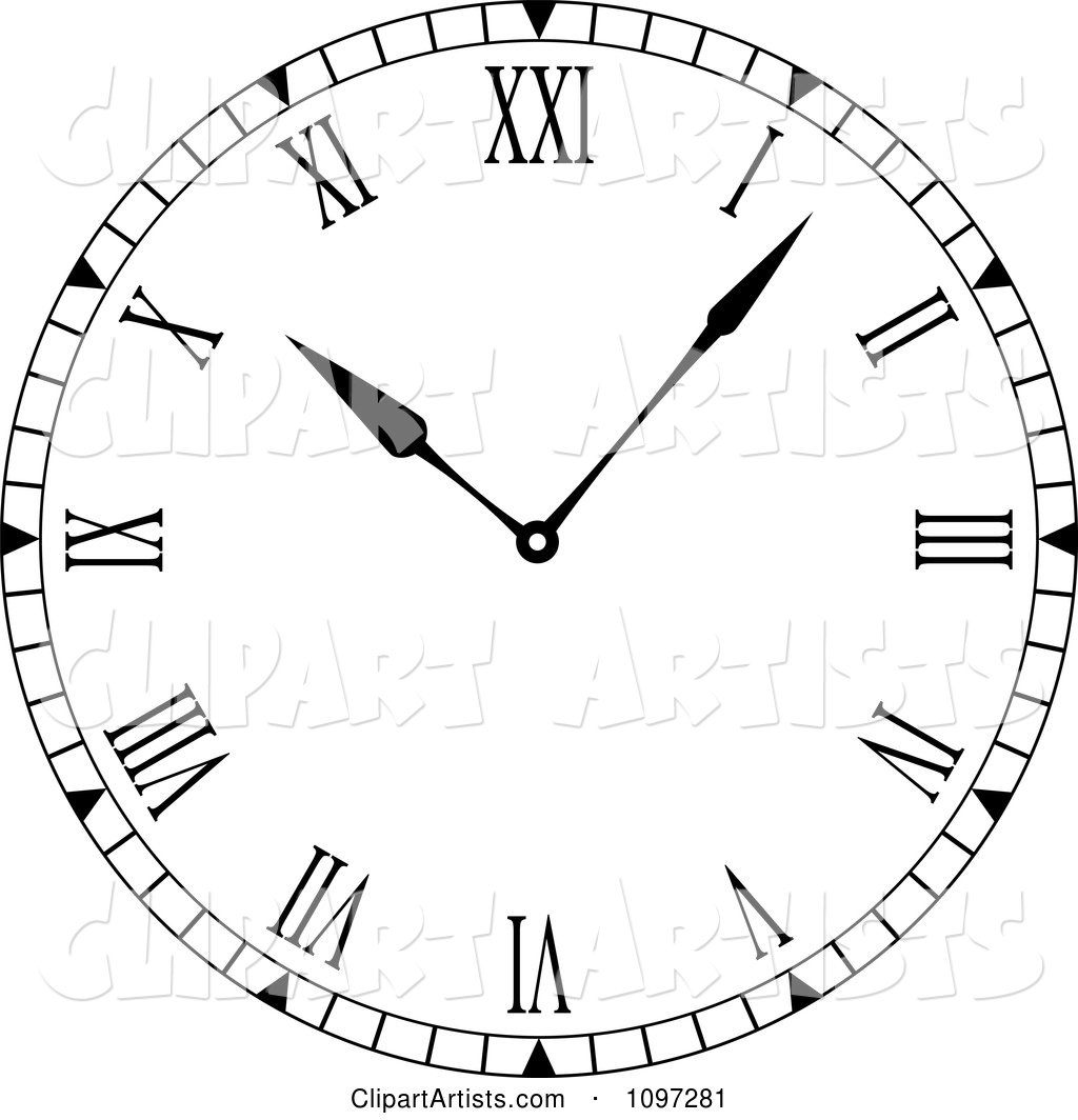 Black and White Roman Numeral Clock Face