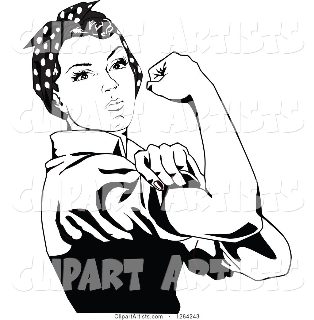 Black and White Rosie the Riveter Flexing and Facing Right